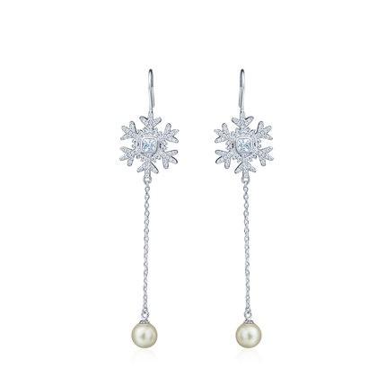 法国永恒Eternelle纯银女长款流苏超仙耳坠耳饰 时尚雪花造型耳环